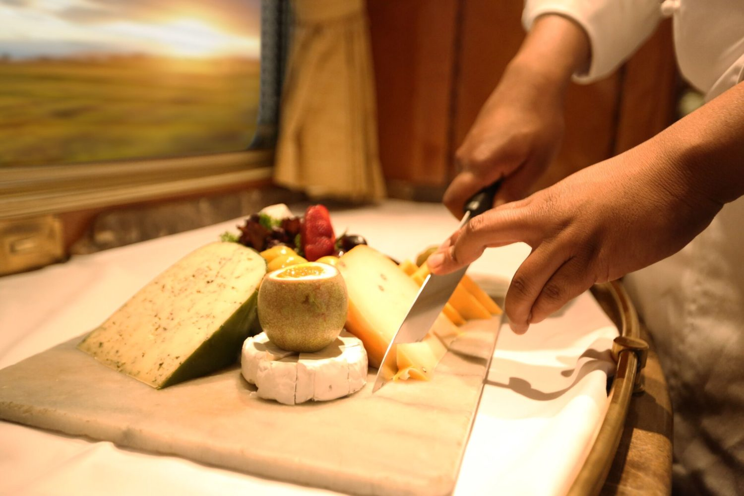 cheese on board the blue train