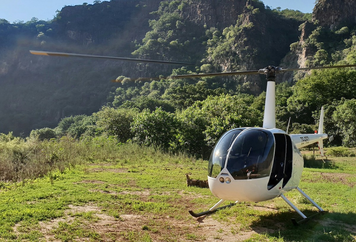 Karongwe helicopter in the gorge